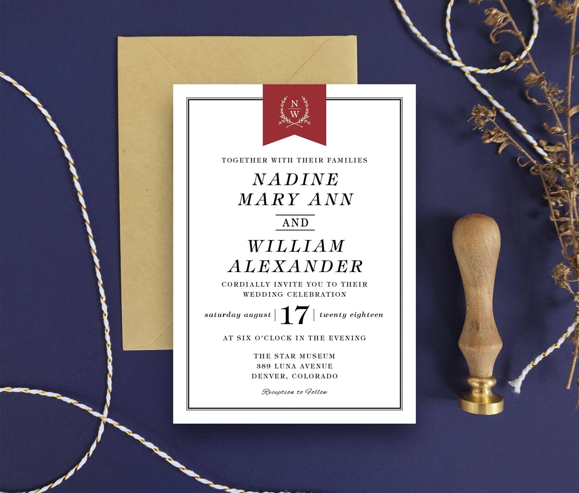 Modern Wedding Invitations - Minimalist Invitation Printable Wedding ...