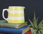 TG Green Cornish Ware Yellow and White Creamer - Yellow White Striped Cream Pitcher - Sunlit Yellow Cornish Kitchenware Dreadnaught Jug