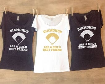 Diamonds Are a Girl's Best Friend - Baseball Bachelorette Party Shirts or Tanks // Single or Set