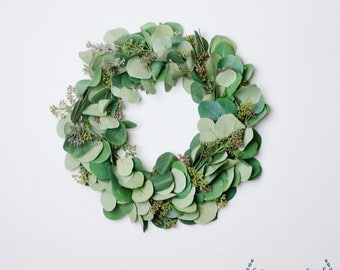 Eucalyptus Wreath, Wreath, Artificial, Greenery Wreath, Home Decor, Farmhouse Decor, Eucalyptus, Greenery, Wreath, Silver Dollar Eucalyptus