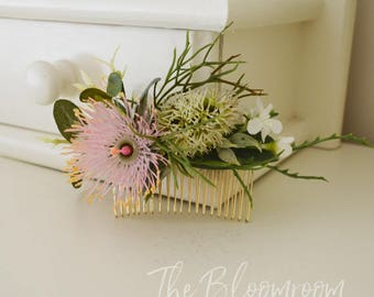 Native flowers, Wedding comb, Bridal hair comb, Silk flower comb, Flower comb, Bridal comb, Silk flower hair comb, Bridal comb, Nicole