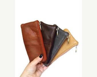 ON SALE Coin Leather Purse, Small Leather Pouch Bag, Mini Cosmetic Bags, Distressed Leather Purses, Maria