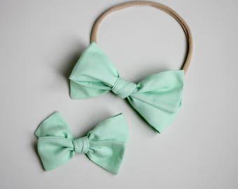 Mint Emmie Bow Headband or Clip