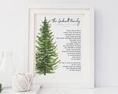 30th 40th 50th Anniversary Gift for Parents, Grandparents, Watercolor Family Tree &  Name Art Print Poem, 8x10 inches UNFRAMED