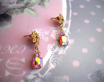 Renaissance Vintage earrings lever back hooks pink glass brass bronze  baroque connectors Isabella