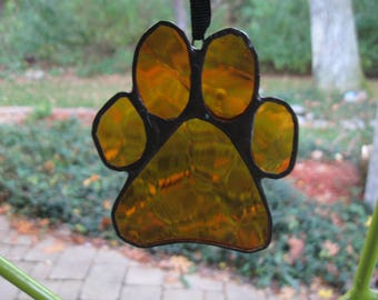 Stained Glass Burnt Orange Paw Print
