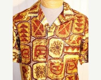 On Sale 50% OFF Men's Vintage Kona Kai Jantzen Hawaiian Shirt Tribal Multi Color M