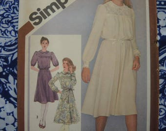 Vintage 1980s Simplicity sewing pattern 9767 misses pullover dress size 10