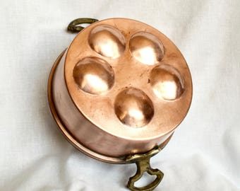 Vintage copper egg poaching pan...copper egg poacher...copper egg pan...copper escargot pan...deep.