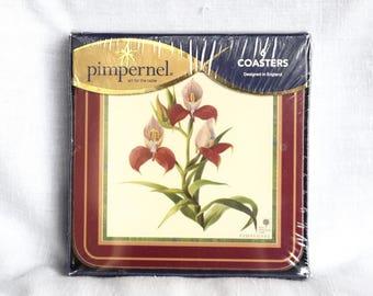 Six Pimpernel coasters...Botanical Orchid...cork bottom...NIB.