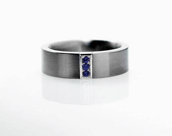 Men blue Sapphire ring made from palladium, Men wedding band, wedding ring men, Blue, sapphire, commitment ring, promise, palladium ring men