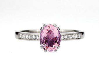 Oval cut Salmon pink Tourmaline solitaire engagement ring in white gold, pink engagement, tourmaline engagement, unique, custom, rose gold