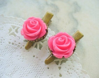 Pink Rose Flower Hair Clips, Antique Brass Clips, Floral Jewelry, Hair Accessories, Crown Hair Clips, Hair Care, Wedding Gift, Flower Girl