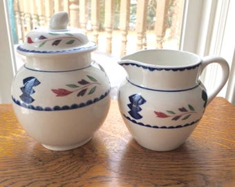 Adams Ironstone  Lancaster Sugar Bowl and Creamer  Set Farmhouse  Rustic Folk Art made in England