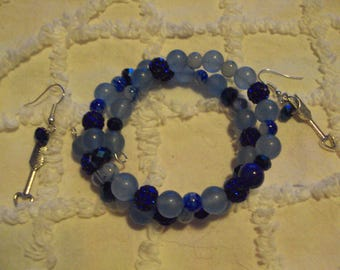 beautiful in blue bracelet and matching earrings