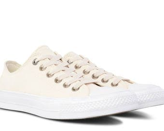 Converse Ivory Brushed Leather Chuck Taylor II Textile Parchment Cream Bone Wedding Low Top w/ Swarovski Crystal Rhinestone All Star Shoe