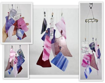 Wind Chime, Stained Glass Chime, Glass Windchime, Pinks and Purples, Garden Decor, Home Decor