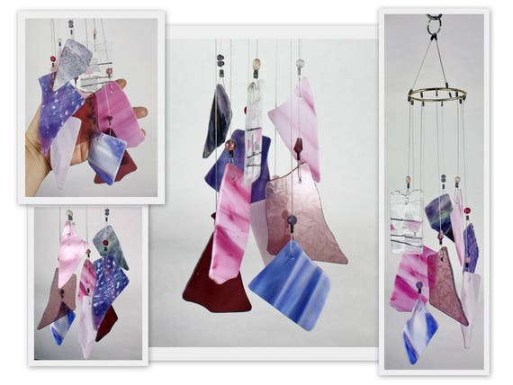 Stained Glass Windchime, Pinks and Purples