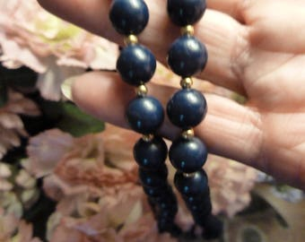 Necklace, Bead Necklace, Bangle in Deep Navy Blue and Gold Tone.