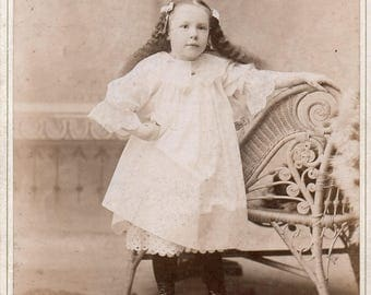 Vintage photograph Cabinet Card Scary Short Girl