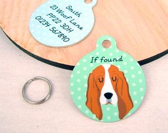 Basset Hound Dog Tag -Basset Collar Tag - Basset Name Tag - Basset ID Tag