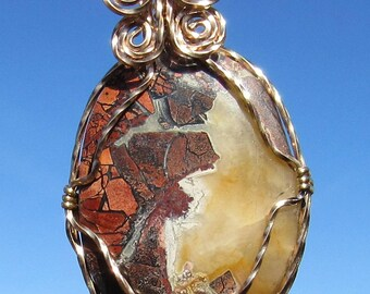 Mosaic Agate Cabochon wire wrapped necklace.