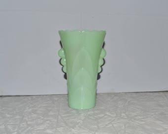 Jadeite Art Deco Vase ~ Fire King Jadeite ~ Vintage Green ~ Mint Green ~ Home Decor ~ Epsteam