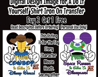 Going To Disney Toy Story Mickey Ears Printable Iron on Transfer Mouse Head Shirt – DIY Disney Shirt Matching Family Shirts Minnie Ears