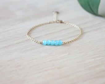 Sparkling light blue bracelet with gold plated chain 24K / bar bracelet for women / dainty bracelet