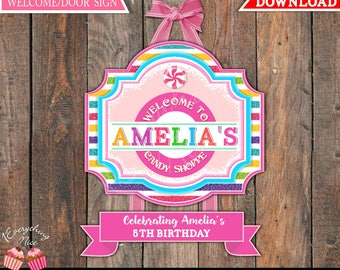 Sweet Candy Shoppe Theme Welcome Door Sign
