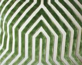 Designer Geometric Pillow - Mary McDonald Gray Pillow Cover - Green  Pillow - Lettuce Vanderbilt Velvet - Schumacher - Designer Pillow