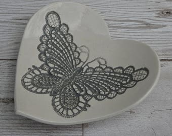 Ceramic butterfly heart dish