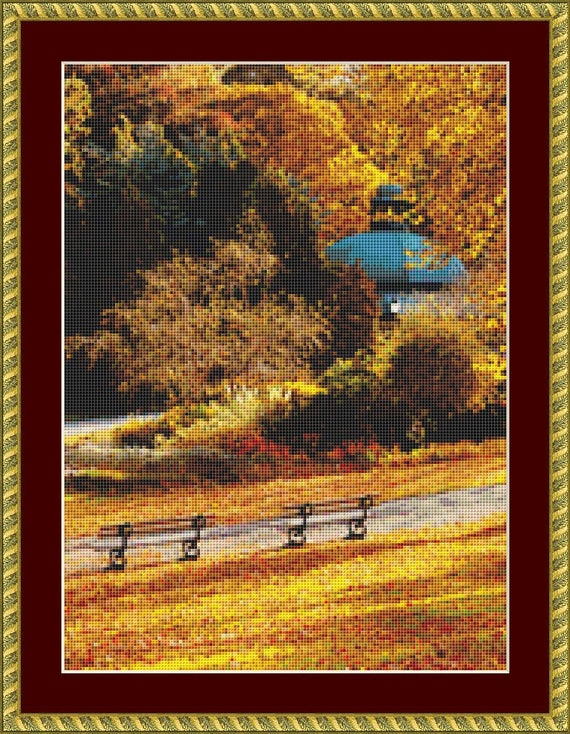 Golden Autumn In The Park Cross Stitch Pattern /Digital PDF Files /Instant downloadable