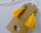 Beautiful bright yellow and blue gold tassel earrings