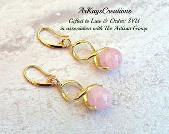 Rose Quartz Earrings Gold, Yellow Gold Quartz Dangle Earrings, Swirl Earrings, Gift for Her, Birthday, For Women