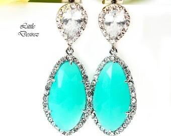 Mint Green Earrings Teal Green Earrings Green Mint Opal Earrings Cubic Zirconia Earring Bridal Earring Bridesmaid Gift Wedding Jewelry MT40P