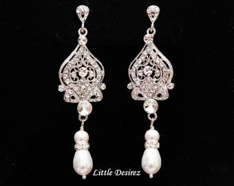 Bridal Earrings Chandelier Earrings Wedding Jewelry Rhinestone Earrings Crystal Earrings Pearl Earrings Rhinestone Bridal Earrings ARIANA