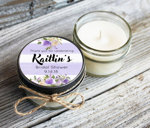 Set of 12 - 4 oz Soy Candle Bridal Shower Favors//Violet Wedding//Purple Bridal Shower Favor