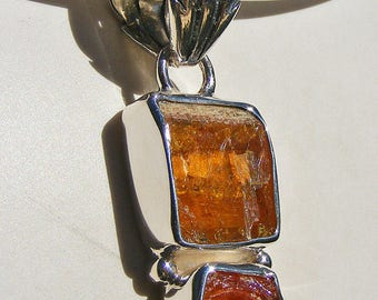 On Reserve for Anita, ZINCITE CRYSTAL PENDANT, Vibrant color, Beautiful and Grounding, Deep  Orange, Sterling Silver
