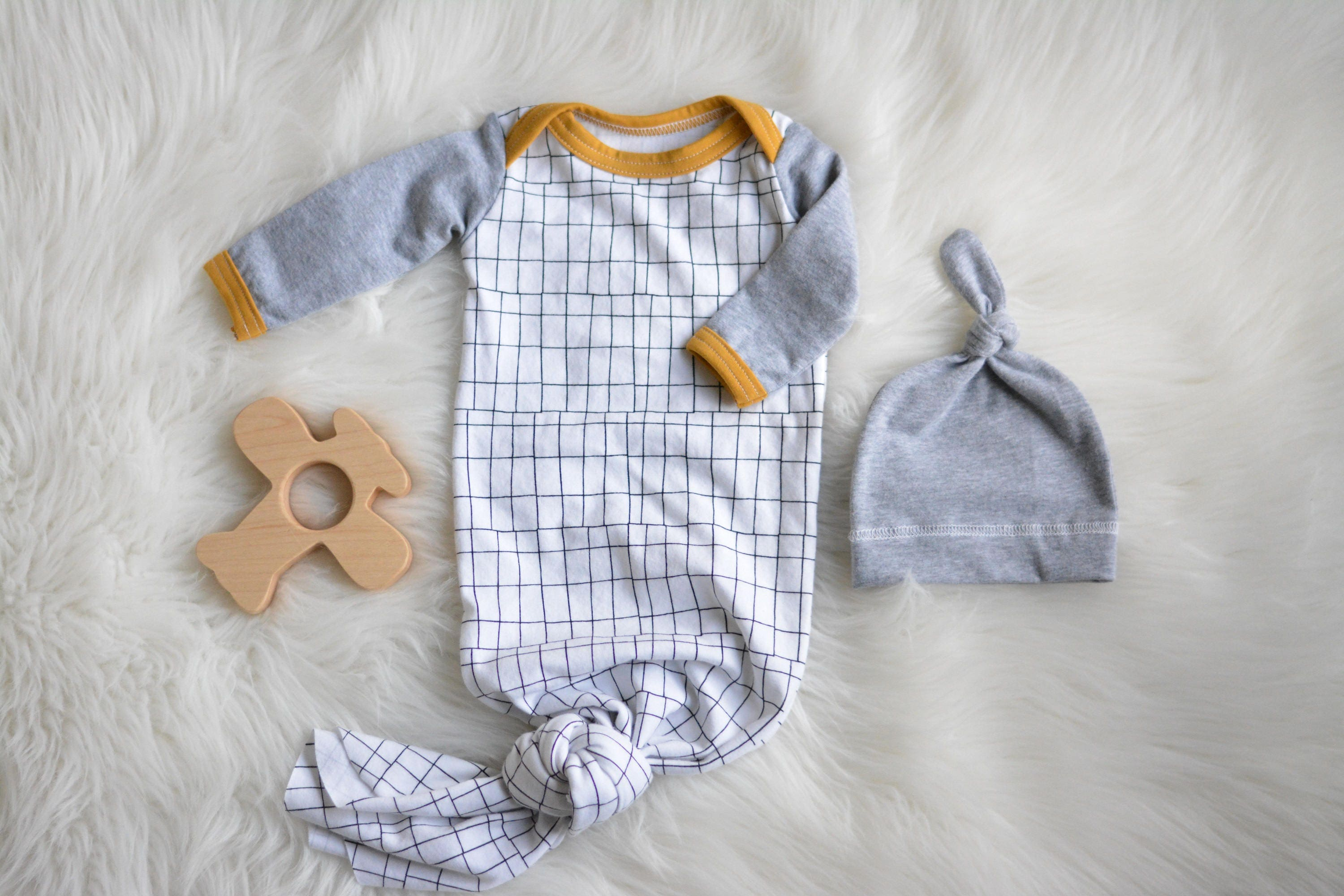 Baby Boy Coming Home Outfit Newborn Knotted Gown In Monochrome Print