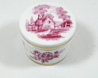 Vintage Spode Trinket Ring Box Cranberry Red Toile