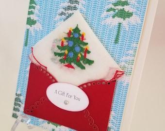 Christmas In July Handkerchief Vintage Embroidered Christmas Tree Keepsake Teacher Gift Hankie Card