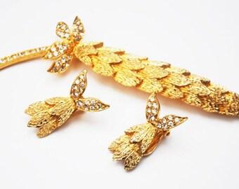 Floral Leaf Brooch earring set - Signed Ledo - Rhinestone gold -flower pin clip on earrings