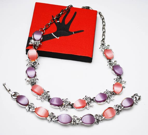 Thermoset necklace and bracelet set -Pink  Purple  plastic -  silver tone Mid Century