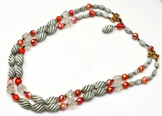 Hobe Glass Bead Necklace - double strand - green white milk glass- Orange  coral AB - Clear nugget - chain -multi strand