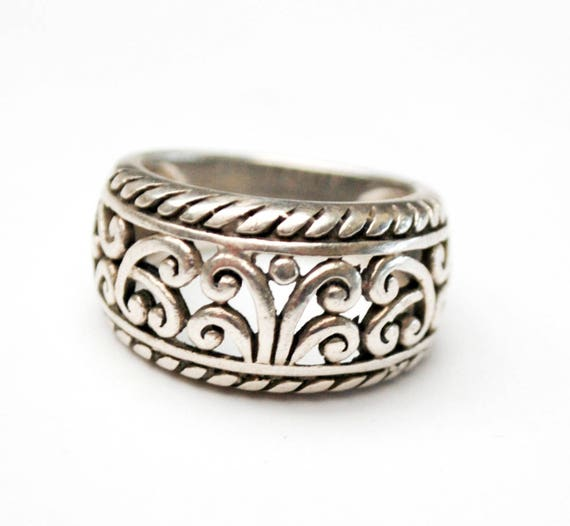 Sterling Filigree  Ring -  silver Scroll band -  size 5.5