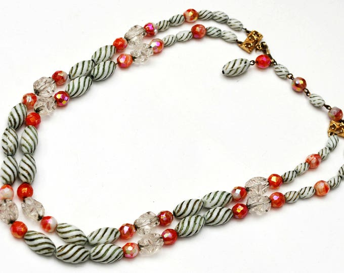 Hobe Glass Bead Necklace - double strand - green white milk glass- Orange coral AB - Clear nugget - chain -multi strand