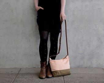 Cross body bag, fabric, cross body purse, salmon pink, brown leather strap handmade shoulder bags