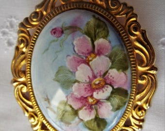 Celebrate Vintage Hand Painted Porcelain Brooch by Sida