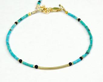 Genuine Turquoise Heishi Bracelet w Gold, Gemstone Skinny Bracelet, Turquoise Delicate Bracelet, Natural Turquoise Bracelet, Chic Bracelet